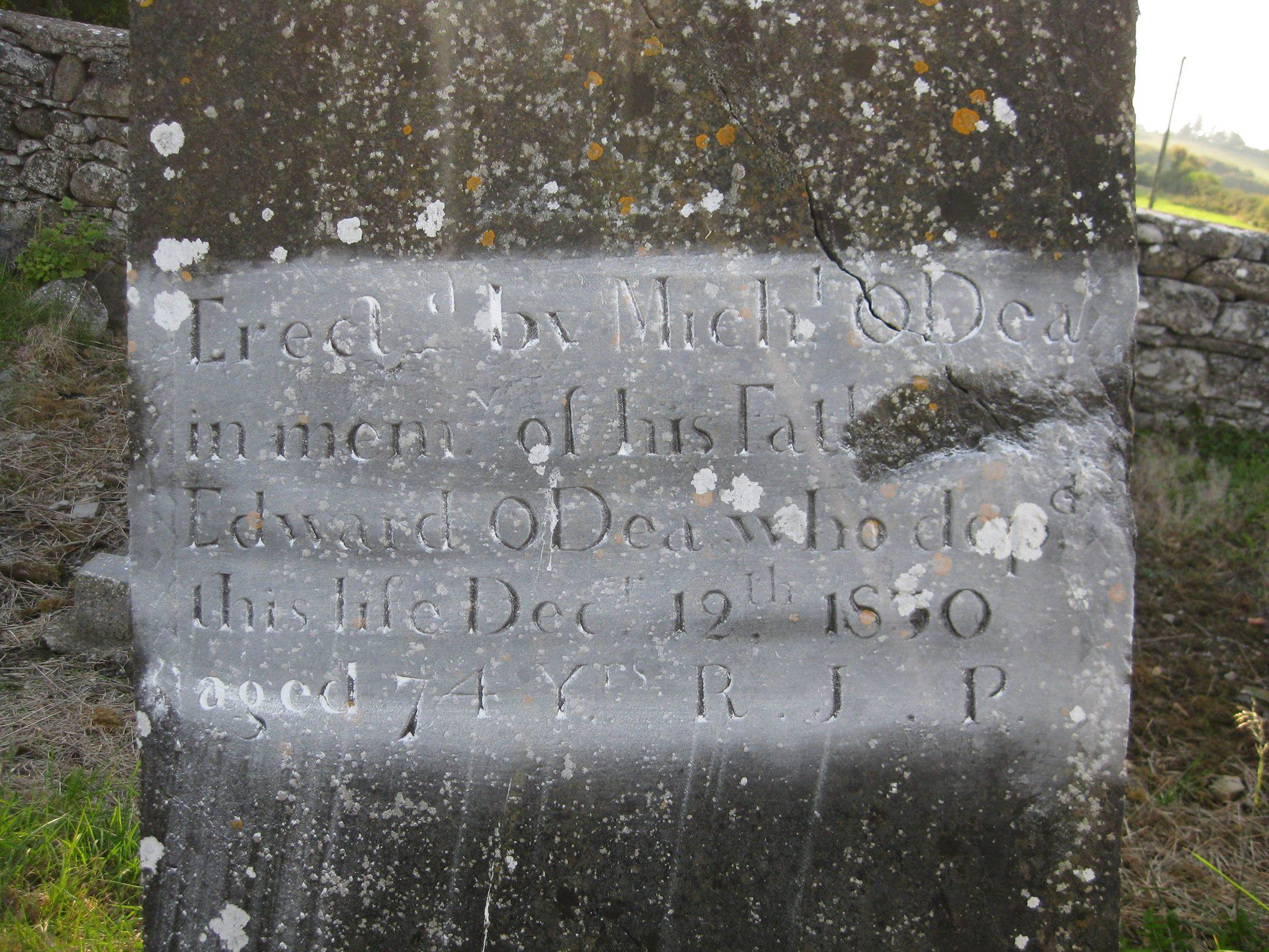 Edward O'Dea's tombstone